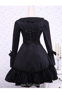 Black Long Sleeves Square Collar Plain Classic Lolita Dress