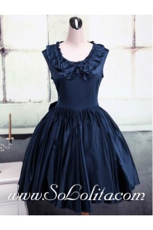 Dark Blue Cotton Round Neck Cap Sleeves Ruffles Classic Lolita Dress