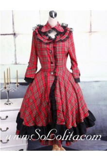 Round Neck Black and Red Lattice Long Sleeve Classic Lolita Dress