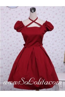 Red Cotton Square Neck Short Sleeves Ruffles Bow Cute Classic Lolita Dress