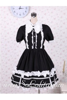 Black Cotton Flouncing Hem Stand Collar Cute Classic Lolita Dress