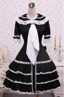 Black Cotton Doll Collar White Lace Trim and Tie Gothic Lolita Dress