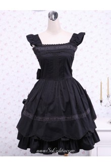 Ruffles Black Cotton Square Neck Gothic Lolita Dress