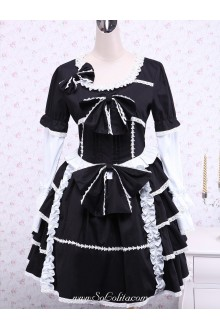 Black Cotton White Lace Trim Knee-length Gothic Lolita Dress