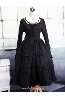 Ruffles Bow Black Long Sleeves Gothic Lolita Dress