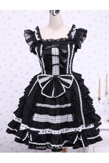 Feifei Sleeves Ruffles Bow Lace Trim Gothic Cotton Lolita Dress