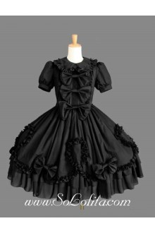 Black Cotton Doll Collar Short Sleeves Ruffles Bow Fashion Gothic Lolita Dress