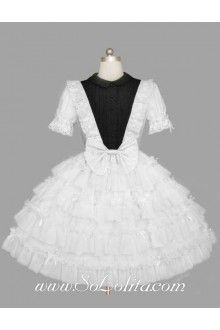 Multilayer Plain White Lapel  Elbow Sleeve Bow Lace Trim Gothic Lolita Dress
