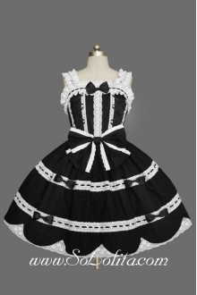 Noble Black and White Square Neck Sleeveless Lace Trim Gothic Lolita Dress