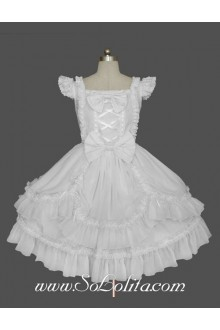 Palace White Cotton Square Neck Feifei Sleeves Lace Trim Gothic Lolita Dress