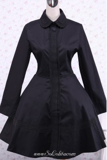 Traditional Black Cotton Long Sleeves Gothic Lolita Dress