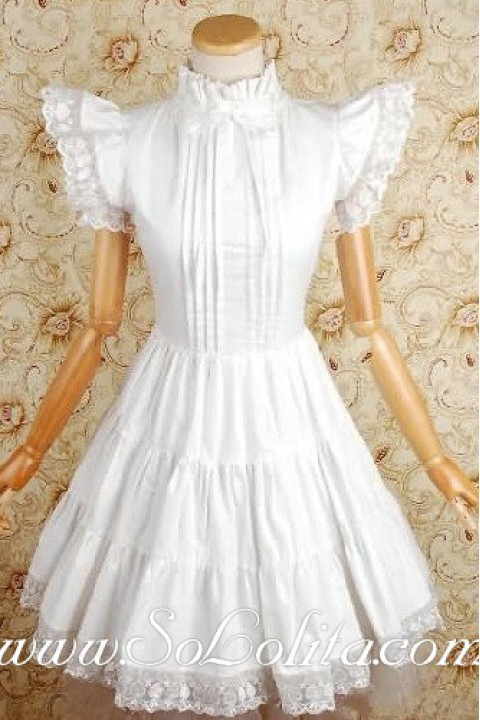 889429256af White Cotton Stand Collar Feifei Sleeves Lace Trim Gothic Lolita Dress