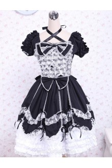Black and White Cotton Square Neck Gothic Lace Trim Lolita Dress