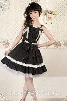 Black Cotton Straps Lace Trim Bow Gothic Lolita Dress