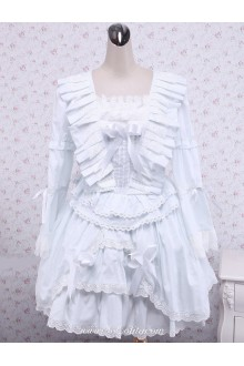 White Cotton Ruffles Bow Square Neck Gothic Lolita Dress