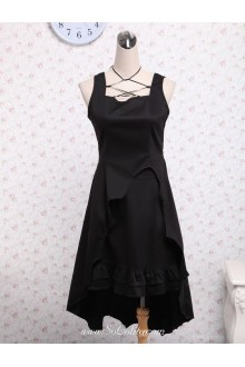 Black Cotton Square Neck Ruffled Gothic Lolita Dress