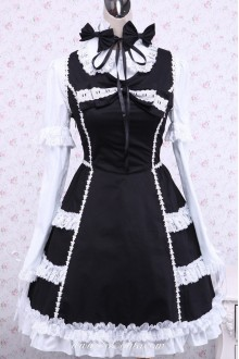 Black and White Cotton Long Sleeves Lace Trim Bow Gothic Lolita Dress