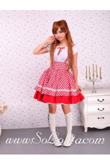 Pink and White Cotton Lattice Sweet Sailor Lolita Dress