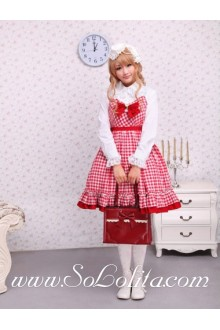 Red Cotton Straps Sleeveless Ruffles Bow    Sailor Lolita Dress