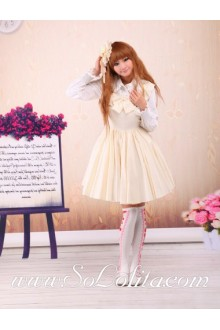 Light Yellow Feifei Sleeves Ruffles Bow Sweet Sailor Lolita Dress