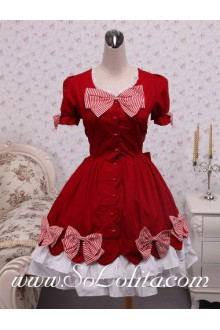 Red Cotton White Trim  Doll Collar Sweet Sailor Lolita Dress