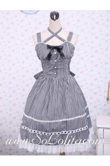 Black Lattice Cotton Cross Lace Trim Sailor Lolita Dress