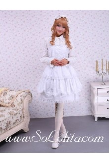 White Cotton Lace Trim Multilayer Strapless Sailor Lolita Dress