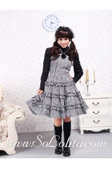Black Lattice Straps Sleeveless White Gingham Sailor Lolita Dress