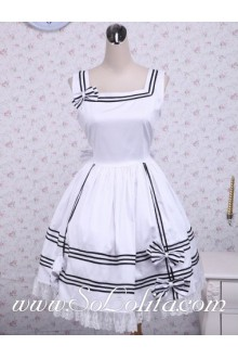 White Cotton Bow Lace Trim Square Neck Sleeveless Sailor Lolita Dress
