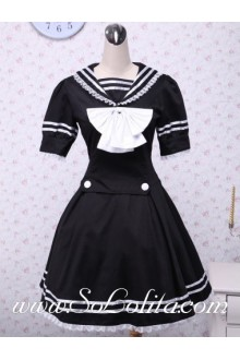 Black Cotton White Bow Lace Trim Sailor Lolita Dress