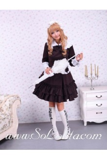 White Doll Collar Bow Double-Breasted Fake Pocket Pleated Sailor Lolita Dress