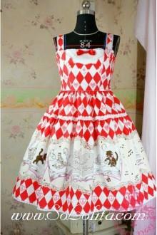 Lolita Floral Red Cotton Sleeveless Ruffles Bow Sweet Dress