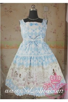 Lolita Floral Sky Blue Cotton Sleeveless Ruffles Bow Sweet Dress