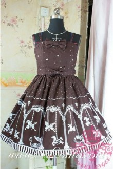 Lolita Floral Brown Cotton Sleeveless Ruffles Bow Sweet Dress