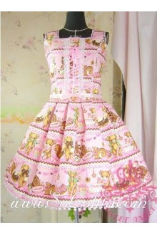 Lolita Pink Cotton Square Neck Bow Floral Sweet Dress