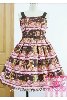 Lolita Coffee Cotton Square Neck Bow Floral Sweet Dress
