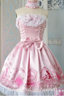 Lolita Grade Fabrics Pink Thick Satin Taffeta Tube Top Ruffles Bow Sweet Dress