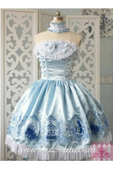 Lolita Grade Fabrics Sky Blue Thick Satin Taffeta Tube Top Ruffles Bow Sweet Dress
