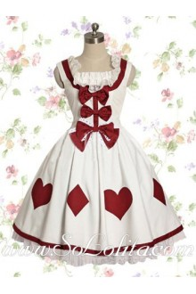 Lolita White Cotton Square Neck Peach Heart Bow Sweet Dress
