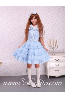 Blue Lattice Lapel Flouncing Hem Ruffles Sweet Lolita Dress