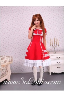 Square Neck Bow Short Sleeve Red Pleated Hem Sweet Lolita Dress