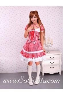 Lolita Square Neck Cross Red Ribbon Pleated Sweet Dress