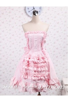 Strapless Flounce Bow Pink Sweet Lolita Dress