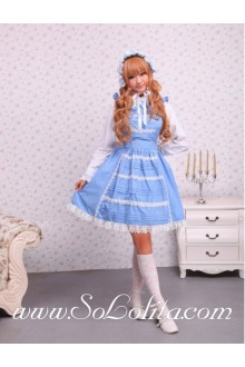 Lolita Blue Doll Collar Long Sleeve Ruffles Bow Sweet Dress