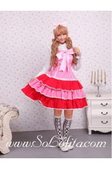 Lolita Pink Cotton Pleated Bow Princess Sweet Dress