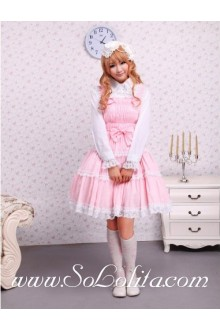 Lolita Elastic Pink Laced Trim  Ruffles Bow Straps Sweet Dress