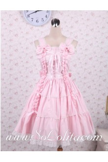 Lolita Pink Cotton Straps Sleeveless Sweet Palace Dress