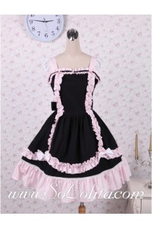 Lolita Black Cotton Lace Hem Bow Sweet Dress