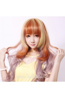 Curl Long Pink Gold Sweet Roleplay Lolita Wig