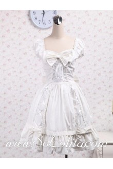 Bow Tie Sweeetheart Collar Pure White Corset Pleated Skirt Sweet Lolita Dress